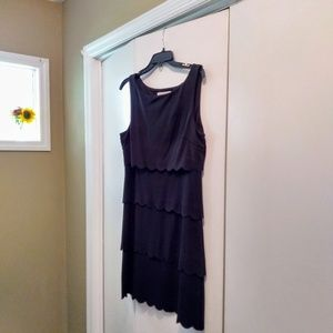 Black Tiered Scalloped Dress